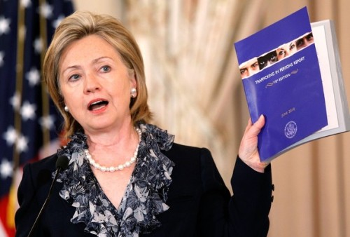 Hillary Clinton Releases 10th Annual Trafficking In Persons Report