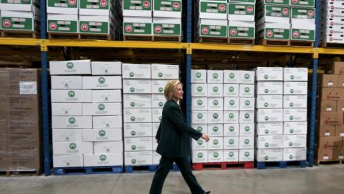 U.S. presidential candidate and former Secretary of State Hillary Clinton arrives to listen to small business owners as she campaigns for the 2016 Democratic presidential nomination at Capital City Fruit in Norfolk
