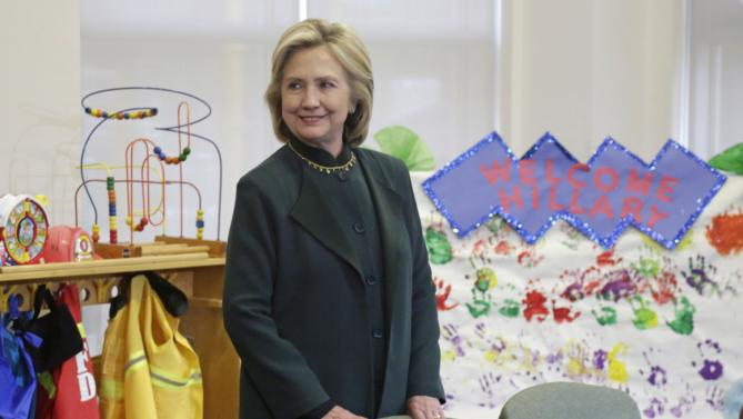 Democratic presidential candidate Hillary Rodham Clinton arrives to speak to child care workers during a visit to the Center For New Horizons  Wednesday, May 20, 2015, in Chicago. (AP Photo/M. Spencer Green)