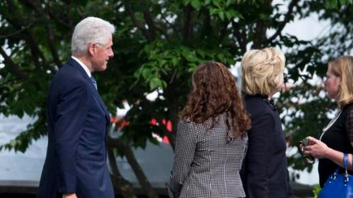 Democratic presidential candidate, former Secretary of State Hillary Rodham Clinton, right, and former President Bill Clinton arrive for a funeral for former Delaware Attorney General Beau Biden, Saturday, June 6, 2015, at St. Anthony of Padua Roman Catholic Church in Wilmington, Del. Biden, the eldest son of the vice president, died of brain cancer May 30 at age 46.  (AP Photo/Matt Rourke)