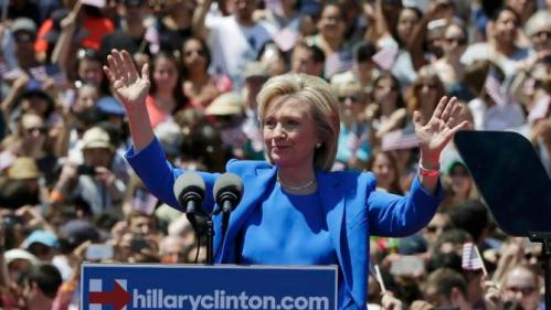 "U.S. Democratic presidential candidate Hillary Clinton delivers her ""official launch speech"" at a campaign kick off rally in Franklin D. Roosevelt Four Freedoms Park on Roosevelt Island in New York City, June 13, 2015.  REUTERS/Brendan McDermid"