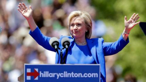 Democratic presidential candidate, former Secretary of State Hillary Rodham Clinton gestures before speaking to supporters Saturday, June 13, 2015, on Roosevelt Island in New York, in a speech promoted as her formal presidential campaign debut.   (AP Photo/Frank Franklin II)