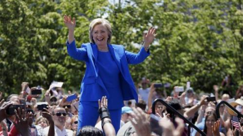 Democratic presidential candidate, former Secretary of State Hillary Rodham Clinton arrives to speak to supporters Saturday, June 13, 2015, on Roosevelt Island in New York. (AP Photo/Julio Cortez)