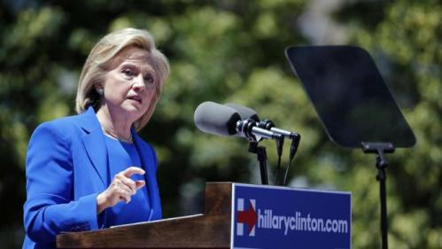 Democratic presidential candidate, former Secretary of State Hillary Rodham Clinton speaks to supporters Saturday, June 13, 2015, on Roosevelt Island in New York. (AP Photo/Julio Cortez)