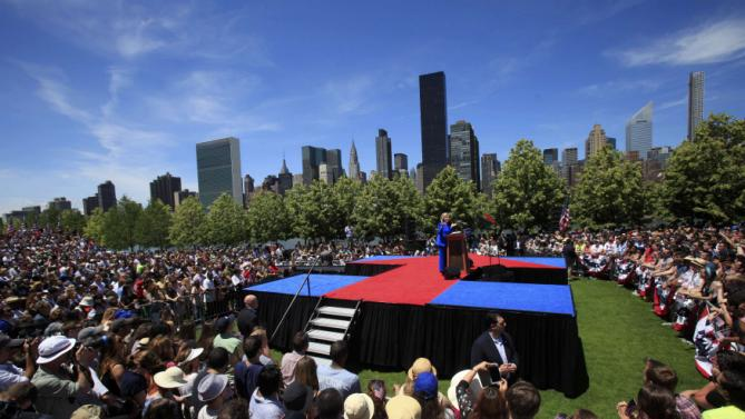 "U.S. Democratic presidential candidate Hillary Clinton delivers her ""official launch speech"" at a campaign kick off rally in Franklin D. Roosevelt Four Freedoms Park on Roosevelt Island in New York City, June 13, 2015.   REUTERS/Carlo Allegri"