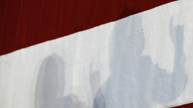 Democratic presidential candidate Hillary Rodham Clinton casts a shadow on a flag as she speaks to supporters during a rally, Sunday, June 14, 2015, in Des Moines, Iowa. Clinton's campaign has signaled Iowa will be the centerpiece of its ground game. (AP Photo/Charlie Neibergall)
