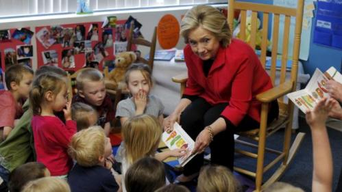 Democratic presidential candidate Hillary Clinton reads a book to a Pre-K class during a campaign stop at the YMCA in Rochester, New Hampshire June 15, 2015. REUTERS/Brian Snyder