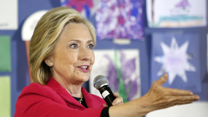 Democratic presidential candidate Hillary Rodham Clinton speaks to a group at the YMCA during a campaign stop, Monday, June 15, 2015, in Rochester, N.H. (AP Photo/Jim Cole)