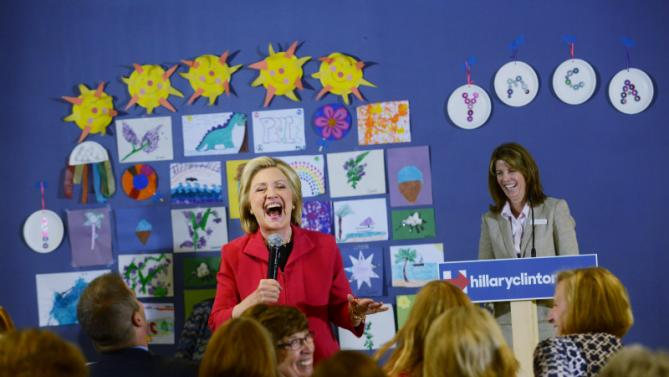 ROCHESTER, NH - JUNE 15:  Former U.S. Secretary of State  and Democratic presidential candidate Hillary Clinton speaks during a forum on early childhood education at the YMCA of Strafford County June 15, 2015 in Rochester, New Hampshire. Clinton held a formal launch event in New York City on June 13, and is hitting the first in the nation primary state for the third time since announcing her candidacy in April. (Photo by Darren McCollester/Getty Images)