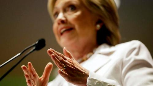 Democratic presidential candidate Hillary Rodham Clinton gestures while addressing an audience during a campaign stop at Trident Technical College Wednesday, June 17, 2015, in North Charleston, S.C. (AP Photo/David Goldman)