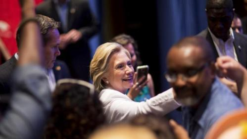 Democratic presidential candidate Hillary Rodham Clinton greets supporters after addressing an audience during a campaign stop at Trident Technical College Wednesday, June 17, 2015, in North Charleston, S.C. (AP Photo/David Goldman)