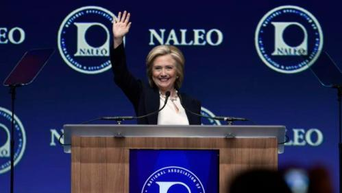 Democratic presidential candidate Hillary Rodham Clinton waves after speaking at the National Association of Latino Elected and Appointed Officials, Thursday, June 18, 2015, in Las Vegas. (AP Photo/David Becker)