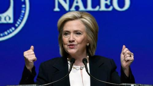 Democratic presidential candidate Hillary Rodham Clinton addresses an audience during the National Association of Latino Elected and Appointed Officials on Thursday, June 18, 2015, in Las Vegas. (AP Photo/David Becker)