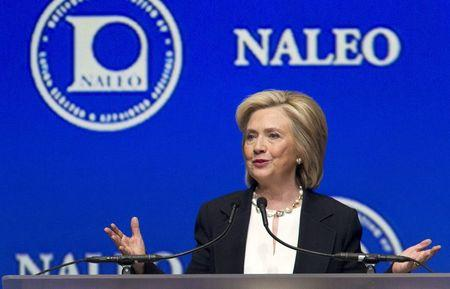U.S. Democratic presidential candidate and former Secretary of State Hillary Clinton speaks at the National Association of Latino Elected and Appointed Officials (NALEO) conference in Las Vegas, Nevada June 18, 2015.  REUTERS/Steve Marcus