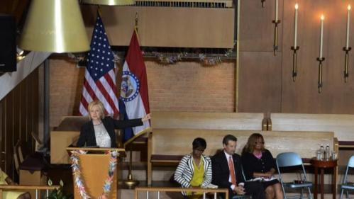 Democratic presidential candidate and former Secretary of State Hillary Clinton speaks about the shooting in Charleston, South Carolina during a community meeting at Christ the King United Church of Christ as she campaigns for president in Florissant, Missouri June 23, 2015.  REUTERS/Kate Munsch