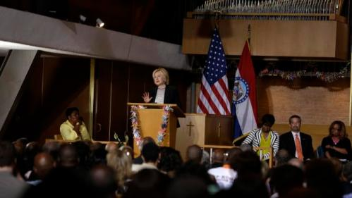 Democratic presidential candidate Hillary Rodham Clinton speaks during a campaign stop at Christ the King United Church of Christ, Tuesday, June 23, 2015, in Florissant, Mo. (AP Photo/Jeff Roberson)