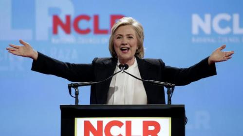 Democratic presidential candidate Hillary Rodham Clinton speaks at a the National Council of La Raza Annual Conference Monday, July 13, 2015, in Kansas City, Mo. (AP Photo/Charlie Riedel)