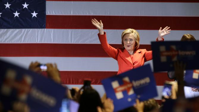 Democratic presidential candidate Hillary Rodham Clinton waves to supporters during a rally before the Iowa Democratic Party's Hall of Fame Dinner, Friday, July 17, 2015, in Cedar Rapids, Iowa. (AP Photo/Charlie Neibergall)