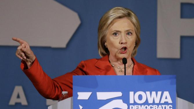 Democratic presidential candidate Hillary Rodham Clinton speaks during the Iowa Democratic Party's Hall of Fame Dinner, Friday, July 17, 2015, in Cedar Rapids, Iowa. (AP Photo/Charlie Neibergall)
