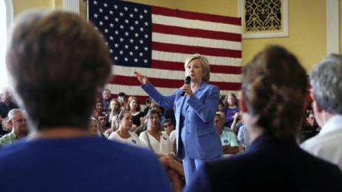 Democratic presidential candidate Hillary Rodham Clinton addresses a gathering during a town hall meeting in Dover, N.H., Thursday, July 16, 2015. (AP Photo/Charles Krupa)