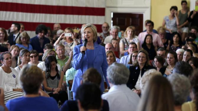 Democratic presidential candidate Hillary Rodham Clinton addresses a gathering during a town hall meeting in Dover, NH., Thursday, July 16, 2015. (AP Photo/Charles Krupa)