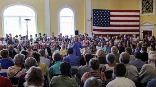 Democratic presidential candidate Hillary Rodham Clinton addresses a gathering during a town hall meeting in Dover, NH, Thursday, July 16, 2015. (AP Photo/Charles Krupa)
