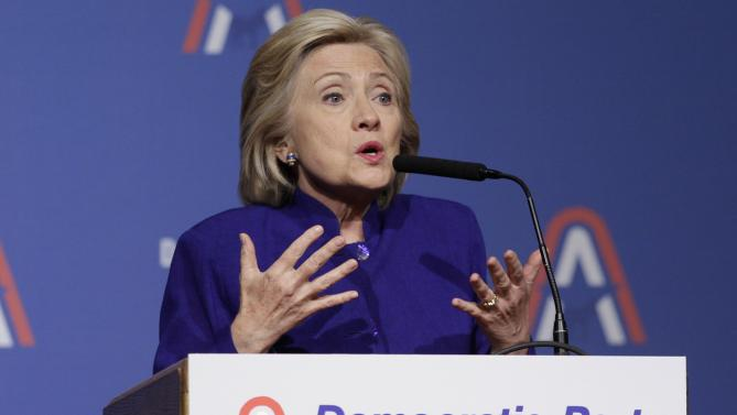 Democratic presidential hopeful Hillary Rodham Clinton speaks at the Democratic Party of Arkansas Jefferson Jackson dinner in North Little Rock, Ark., Saturday, July 18, 2015. (AP Photo/Danny Johnston)