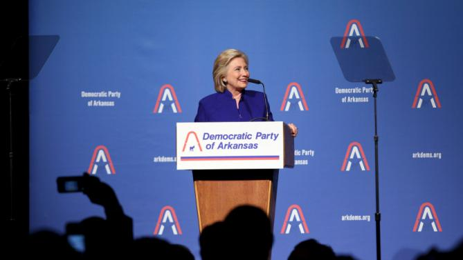 Hillary Clinton speaks during the Arkansas Democrats' Jefferson-Jackson Dinner 2015 in Little Rock, Arkansas July 18, 2015.  REUTERS/Jacob Slaton
