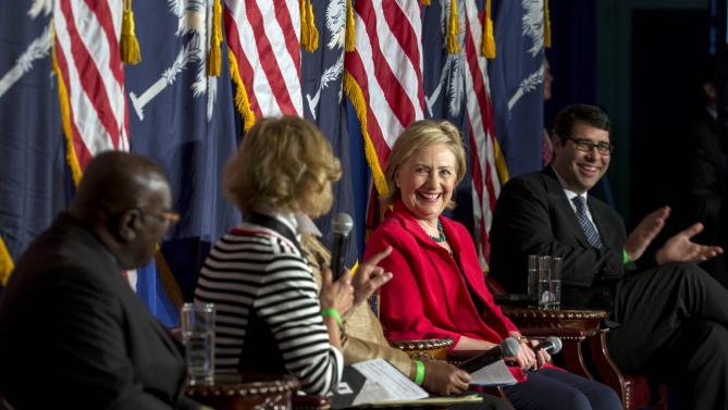 Democratic presidential hopeful Hillary Rodham Clinton listens to questions at an event, Thursday, July 23, 2015 in Columbia, S.C.   Clinton talked about what she said was a lack of educational and economic opportunities, and a criminal justice system that treats blacks more harshly than whites.  (AP Photo/Stephen B. Morton)