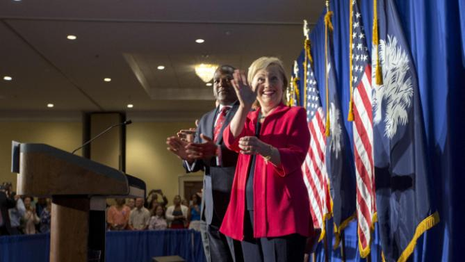 Democratic presidential hopeful Hillary Rodham Clinton, Thursday, July 23, 2015 in Columbia, S.C.  Clinton talked about what she said was a lack of educational and economic opportunities, and a criminal justice system that treats blacks more harshly than whites.   (AP Photo/Stephen B. Morton)
