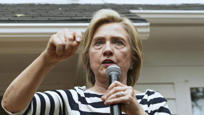Democratic U.S. presidential candidate Hillary Clinton speaks to supporters at the home of Sean and Vidyha Bagniewski in the Beaverdale are of Des Moines, Iowa on July, 25, 2015. REUTERS/Brian C. Frank