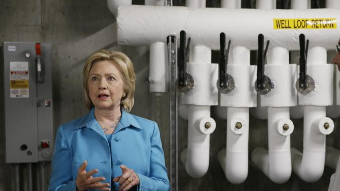 Democratic presidential candidate Hillary Rodham Clinton tours the Des Moines Area Rapid Transit Central Station, Monday, July 27, 2015, in Des Moines, Iowa. (AP Photo/Charlie Neibergall)
