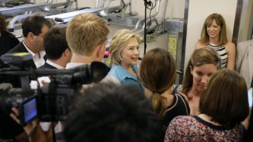 Democratic presidential candidate Hillary Rodham Clinton talks to the media, Monday, July 27, 2015, at the Des Moines Area Rapid Transit Central Station in Des Moines, Iowa. (AP Photo/Charlie Neibergall)