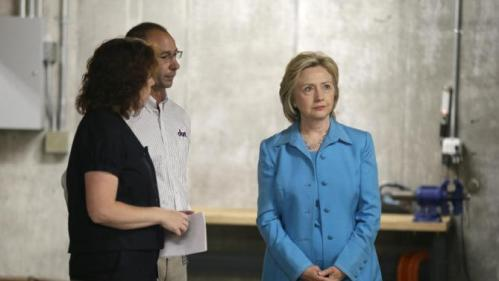 Democratic presidential candidate Hillary Rodham Clinton tours the Des Moines Area Rapid Transit Central Station with general manager Elizabeth Presutti, left, and building superintendent Keith Welch, Monday, July 27, 2015, in Des Moines, Iowa. (AP Photo/Charlie Neibergall)
