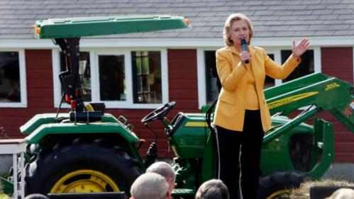 Democratic presidential candidate Hillary Rodham Clinton speaks to a crowd at the Beech Hill Farm during a campaign stop Tuesday, July 28, 2015, in Hopkinton, N.H. (AP Photo/Jim Cole)