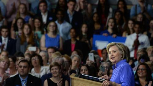 Democratic presidential candidate Hillary Clinton speaks at a town hall meeting at Exeter High School August 10, 2015 in Exeter, New Hampshire. Clinton discussed college affordability and student debt relief. (Darren McCollester/Getty Images)