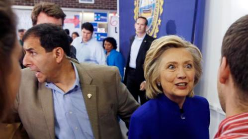 Democratic presidential candidate Hillary Rodham Clinton shakes hands during a campaign stop at River Valley Community College Tuesday, Aug. 11, 2015, in Claremont, N.H. (AP Photo/Jim Cole)