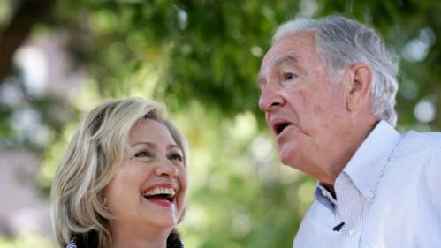 Democratic presidential candidate Hillary Rodham Clinton laughs with former Sen. Tom Harkin during a visit to the Iowa State Fair, Saturday, Aug. 15, 2015, in Des Moines, Iowa. (AP Photo/Charlie Neibergall)