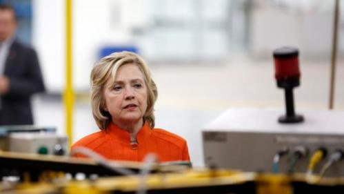Democratic presidential candidate Hillary Rodham Clinton tours the Carpenters International Training Center Tuesday, Aug. 18, 2015, in Las Vegas. The training center was one of several places Clinton visited in the Las Vegas area on Tuesday. (AP Photo/John Locher)