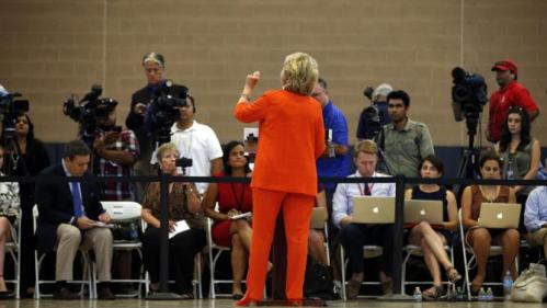 Democratic presidential candidate Hillary Rodham Clinton speaks at a news conference after a town hall meeting Tuesday, Aug. 18, 2015, in North Las Vegas, Nev. (AP Photo/John Locher)