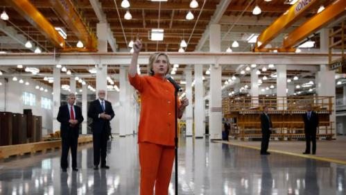 Democratic presidential candidate Hillary Rodham Clinton speaks during a tour of the Carpenters International Training Center Tuesday, Aug. 18, 2015, in Las Vegas. The training center was one of several places Clinton visited in the Las Vegas area on Tuesday. (AP Photo/John Locher)