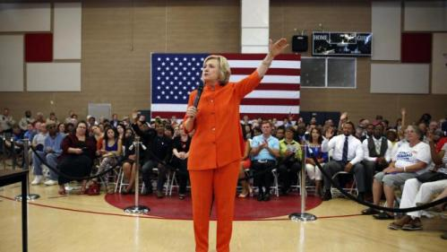 Democratic presidential candidate Hillary Rodham Clinton speaks at a town hall meeting Tuesday, Aug. 18, 2015, in North Las Vegas, Nev. (AP Photo/John Locher)