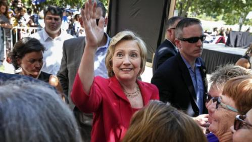 Democratic presidential candidate Hillary Rodham Clinton waves as she leaves after being endorsed by Sen. Jeanne Shaheen, D-N.H., during the kick-off event for New Hampshire Women for Hillary in Portsmouth, N.H., Saturday, Sept. 5, 2015. (AP Photo/Cheryl Senter)