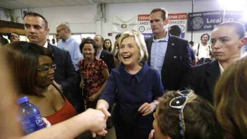 Democratic presidential candidate Hillary Rodham Clinton greets supporters during the Annual Hawkeye Labor Council AFL-CIO Labor Day picnic, Monday, Sept. 7, 2015, in Cedar Rapids, Iowa. (AP Photo/Charlie Neibergall)