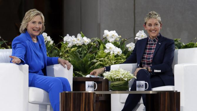 Democratic presidential candidate Hillary Rodham Clinton, left, speaks to Ellen DeGeneres during a taping of The Ellen DeGeneres Show, Tuesday, Sept. 8, 2015, at Rockefeller Center in New York. (AP Photo/Mary Altaffer)