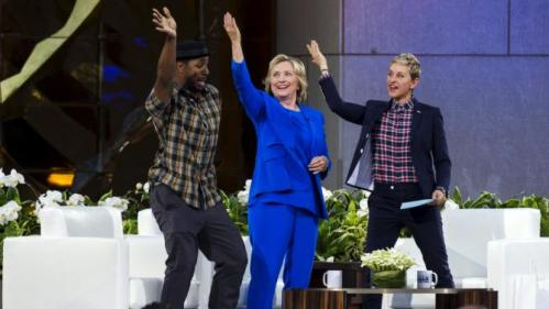 "U.S. Democratic presidential candidate Hillary Clinton does the ""Nae Nae"" dance move with DJ Stephen ""Twitch"" Boss (L) and television host Ellen Degeneres (R) during a taping of ""The Ellen Degeneres show"" in New York September 8, 2015. REUTERS/Lucas Jackson TPX IMAGES OF THE DAY"