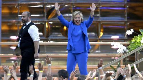 Democratic presidential candidate Hillary Rodham Clinton waves at the audience as she leaves the stage after taping The Ellen DeGeneres Show, Tuesday, Sept. 8, 2015, at Rockefeller Center in New York. (AP Photo/Mary Altaffer)