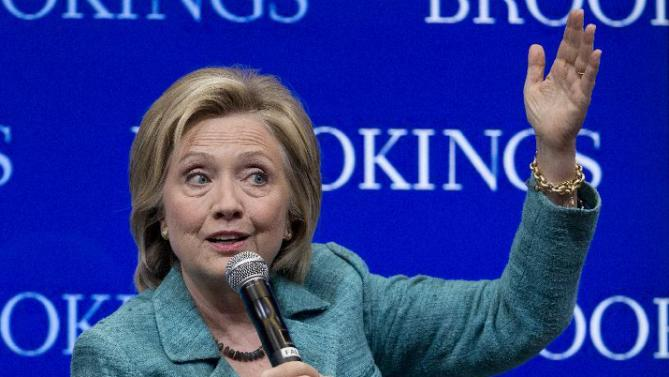 "Democratic presidential candidate Hillary Rodham Clinton speaks at the Brookings Institution in Washington, Wednesday, Sept. 9, 2015. Clinton issued a hardline warning to Iran on Wednesday that as president she would ""not hesitate"" to take military action to stop the country from acquiring nuclear weapons. (AP Photo/Carolyn Kaster)"