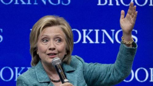 """Democratic presidential candidate Hillary Rodham Clinton speaks at the Brookings Institution in Washington, Wednesday, Sept. 9, 2015. Clinton issued a hardline warning to Iran on Wednesday that as president she would """"not hesitate"""" to take military action to stop the country from acquiring nuclear weapons. (AP Photo/Carolyn Kaster)"""