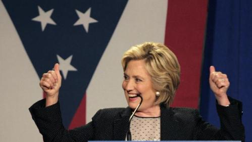 Democratic presidential candidate Hillary Rodham Clinton reacts to a cheering crowd during a 'Women for Hillary' grassroots organizing meeting, Thursday, Sept. 10, 2015, in Columbus, Ohio. (AP Photo/Jay LaPrete)
